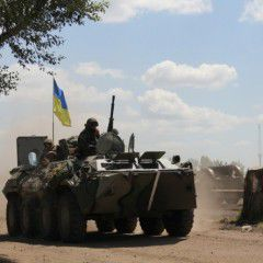 Undermining of Ukrainian APC on a mine