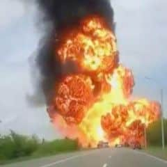 Russian truck with ammunition to the separatists exploded on the road to Ukraine