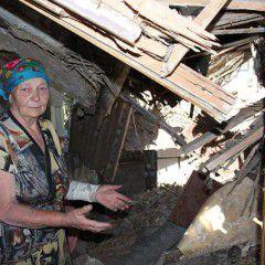 Ukrainian village Maryinka after it was shelled by pro-Russian terrorists