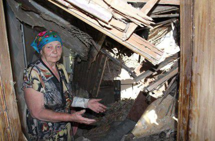 Ukrainian village Maryinka after it was shelled by pro-Russian terrorists