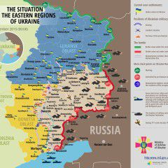 In Ukraine intensive combat actions across the front lines. Map