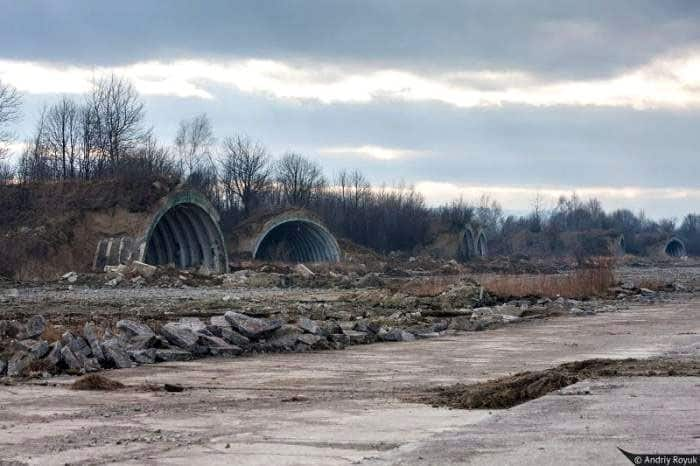 Destroyed air base in Stryy (Lviv region) where were based 260th Heavy Bomber Aviation Regiment