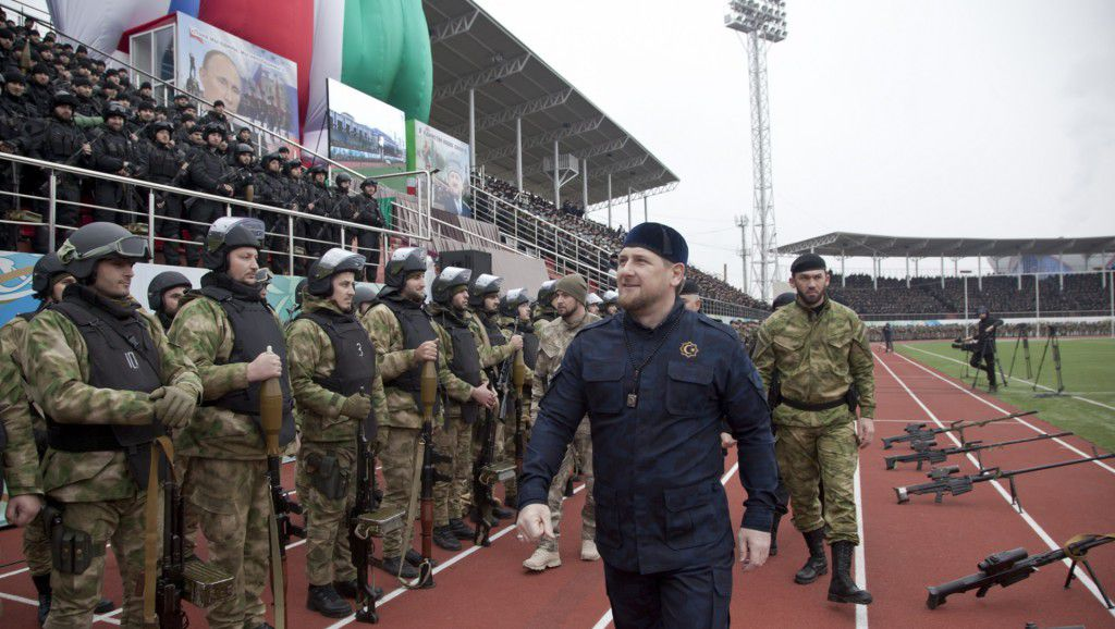 Chechnya police (at fact - Kadyrov's private army) parade at Grozny stadium. From the right of Kadyrov - colonel Magomed Daudov who once fought with Kadyrov against Russian army and moved with him to the side of Russia, now - Chairman of Chechnya Parliament.