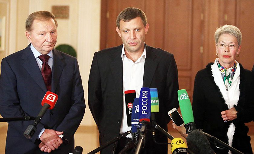 Zakharchenko witn Leonid Kuchma (ex-president of Ukraine, the representative of Ukraine in Minsk process) and Heidi Tagliavini (the representative of OSCE)