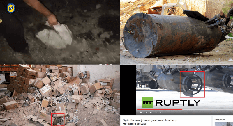 Top left: a frame from a White Helmets video showing what appear to be a barrel bomb fragment; top right: photo of an unexploded barrel bomb in Hama; bottom left: AFP photo likely showing a part of an OFAB-250-270 tail; bottom right: frame from a Ruptly video showing OFAB-250-270 bombs attached to a Su-25 ground attack jet at Russia's Hmeimim airbase in Syria