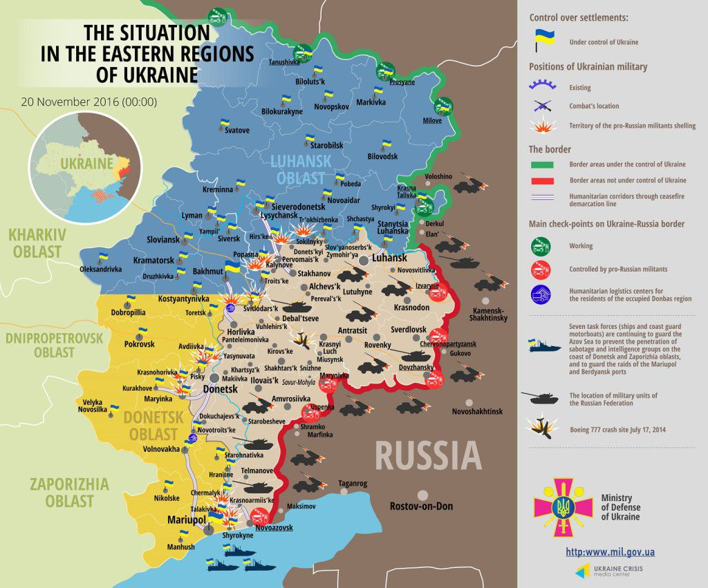 Situation in Donbas November 20, 2016 Ukraine conflict map
