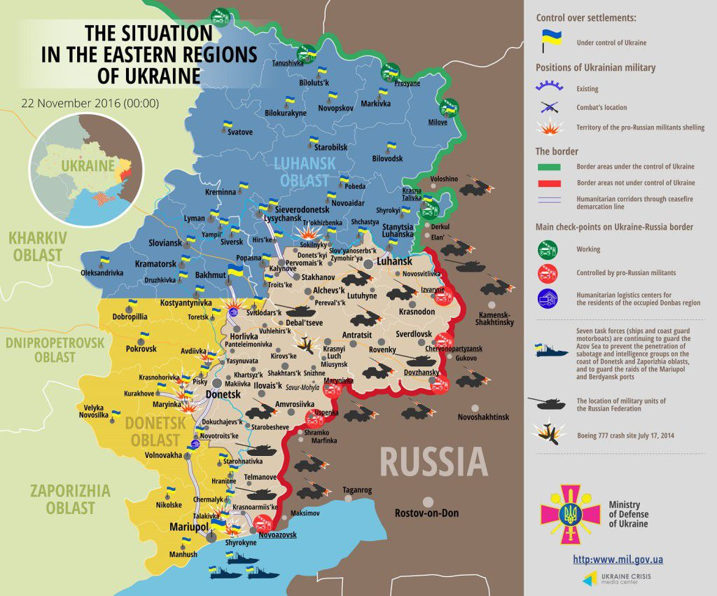 Situation in Donbas November 22, 2016 Ukraine conflict map
