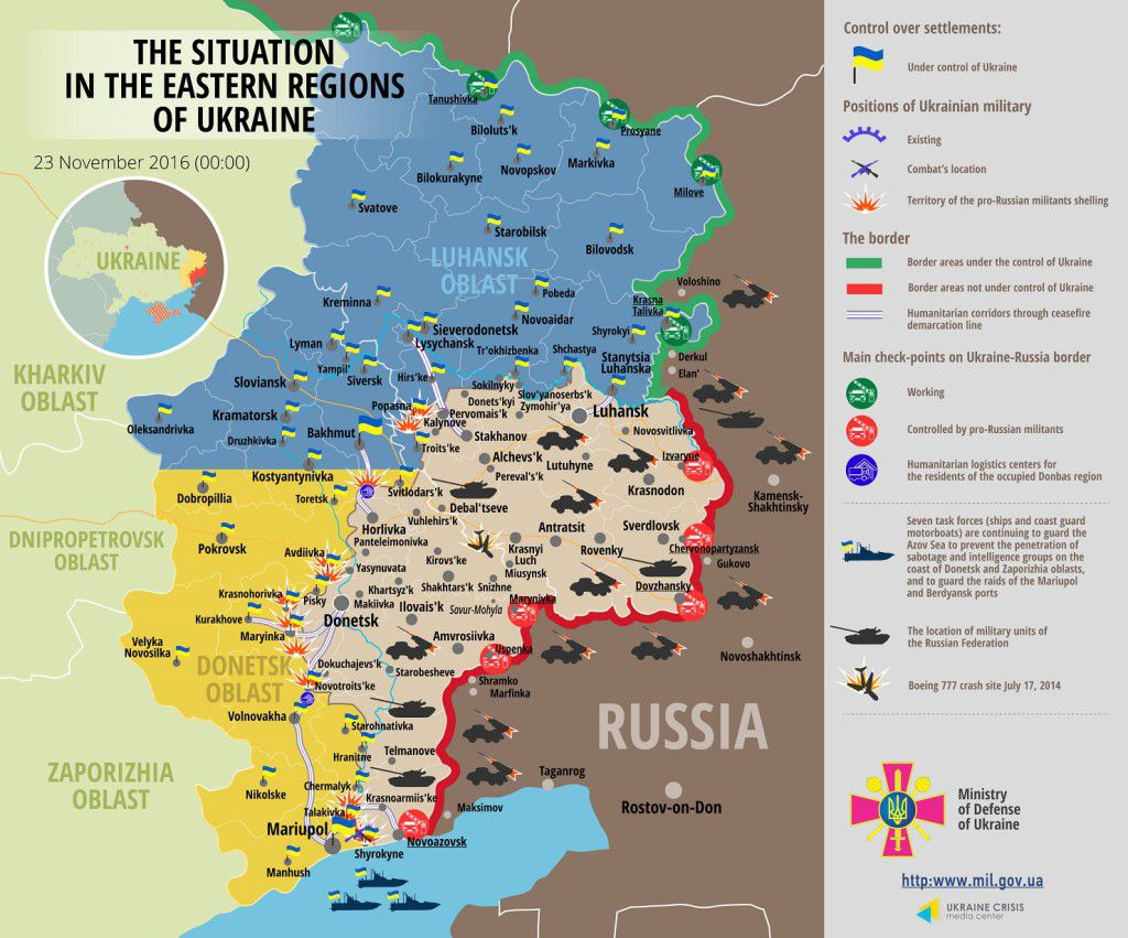 Situation in Donbas November 23, 2016 Ukraine conflict map
