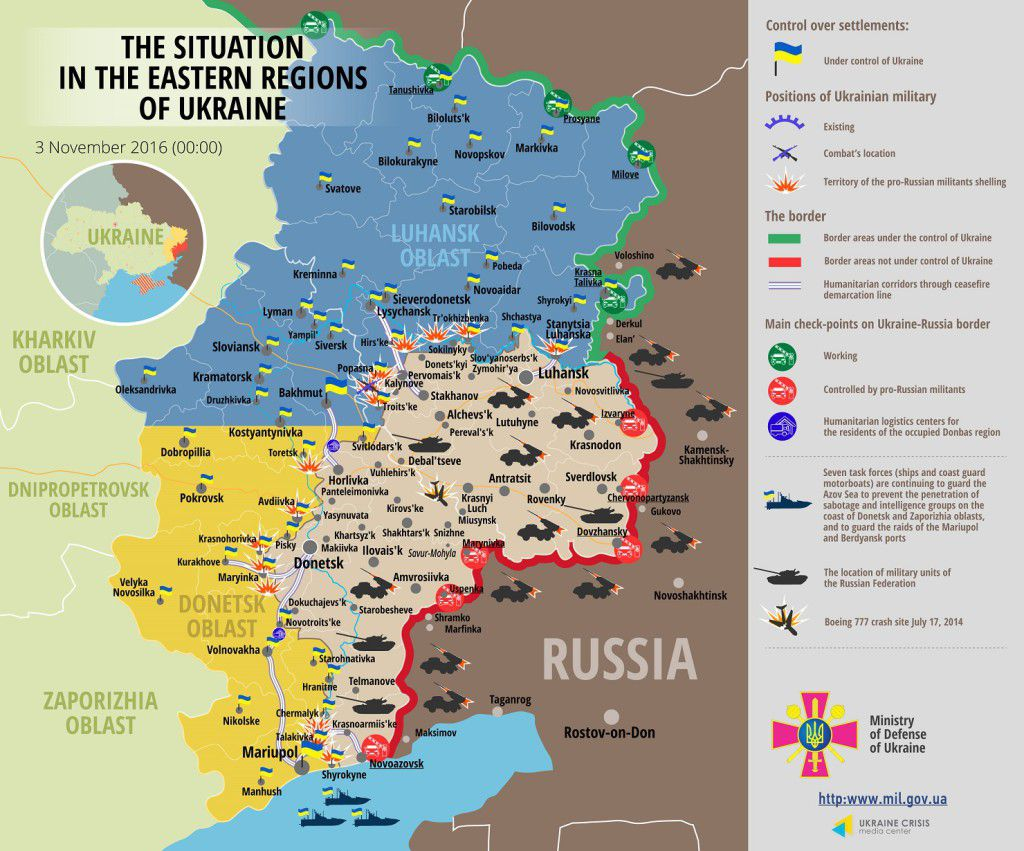 Situation in Donbas November 3, 2016 Ukraine conflict map
