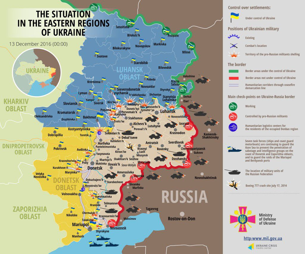 Situation in Donbas December 13, 2016 Ukraine conflict map