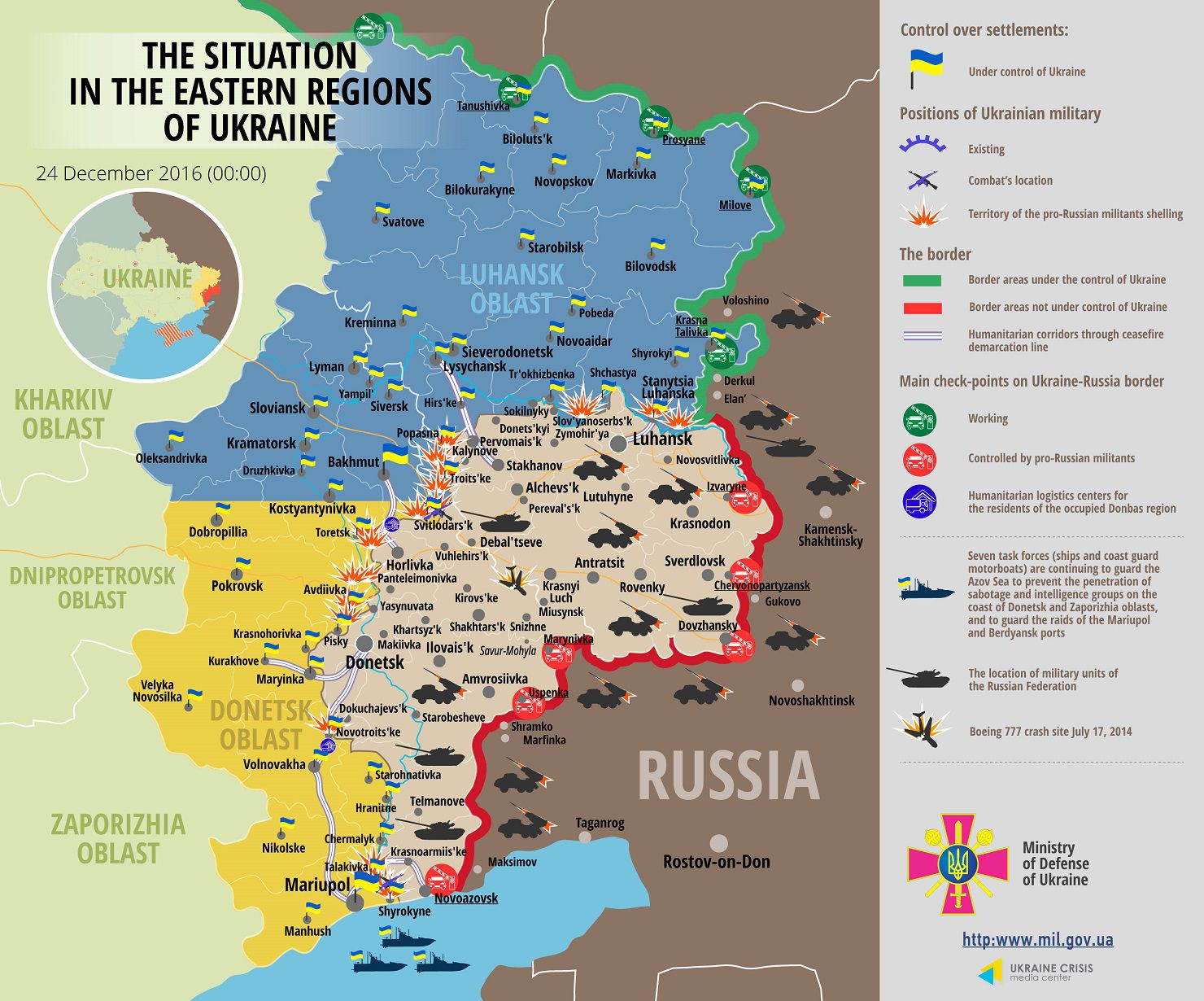 Situation in Donbas December 24, 2016 Ukraine conflict map