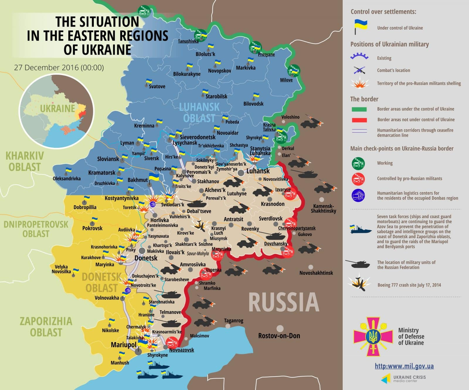 Situation in Donbas December 27, 2016 Ukraine conflict map