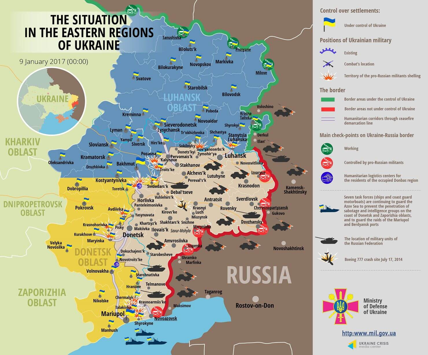 Situation in Donbas January 9, 2017 Ukraine conflict map