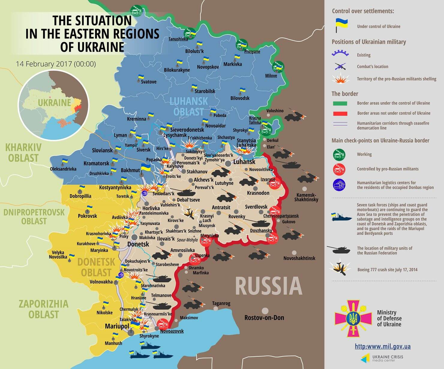 Situation in Donbas February 14, 2017 Ukraine conflict map
