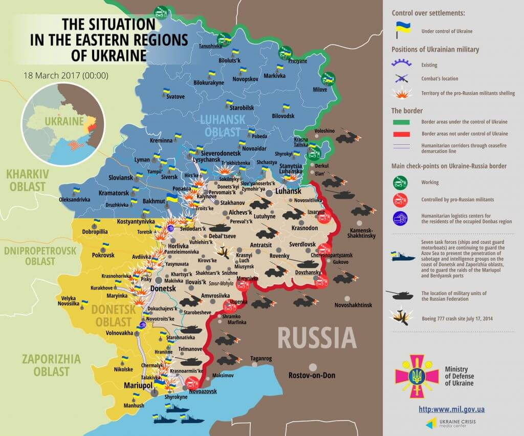 Situation in Donbas March 18, 2017 Ukraine conflict map