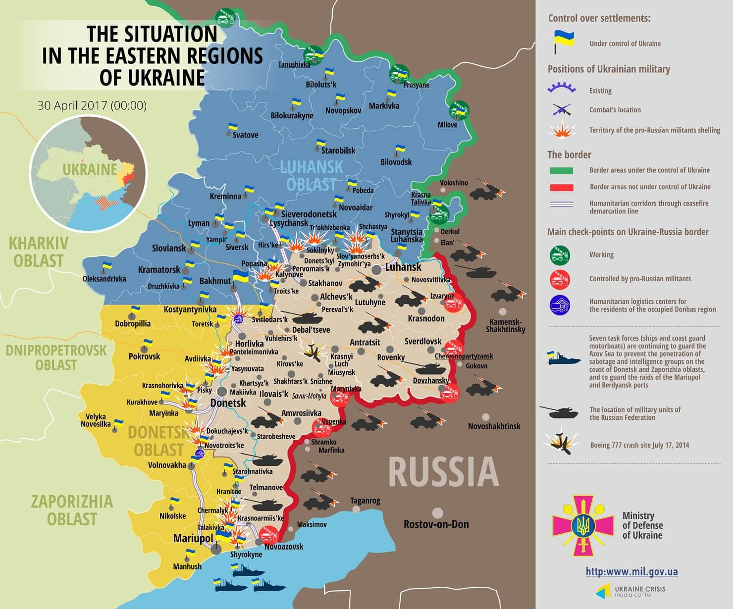 Situation in Donbas on April 30, 2017 Ukraine conflict map