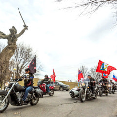 Activist in Prague protest against arrival of pro-Putin Night Wolves bikers